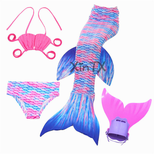 NEW! Mermaid Tail with Monofin for Kids Swimsuit Flipper