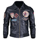 2018 New Arrivals Fashion Pilot Men's Leather Jacket Badge Designer Man's Air Force Motorcycle Leather Jackets and Coat C1672
