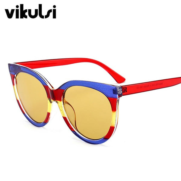 2018 New Brand Design Cat Eye Sunglasses Women Luxury Italy Blue Red yellow Sun Glasses For Female Shades Sexy Round Eyewear