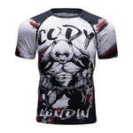 2018 New Compression Shirt Rashguard Short Sleeve 3D Print BJJ Jiu Jitsu T shirt Men's MMA Fitness Bodybuilding Crossfit Tops