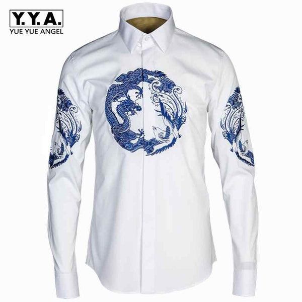 2018 New Fashion Mens Casual Shirts Long Sleeve Turn Down Collar Single Button Male Shirts Cotton Royal Dragon and Cheung