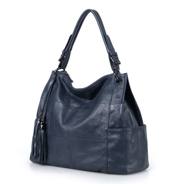 2018 New Fashion Soft Real Genuine Leather Tassel Women's Handbag Ladies Shoulder Tote Messenger Bag Purse Satchel Black Gray