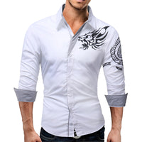 2018 New Men'S Long-Sleeved Dress Shirt Dragons Men'S Casual Slim Lapel Male Quality Large Size 4XL QARE