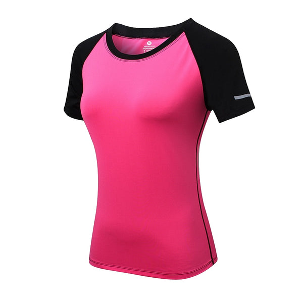 2018 New Women Yoga Tops Quick Dry Fitness Sports Short Sleeve T Shirt Gym Running Workout Tops Slim Yoga Shirt Fitness Clothing