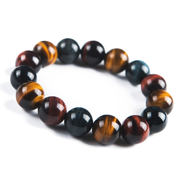 2018 Newly Natural Colorful Tiger's Eye Gems Stone Round Beads Healing Bracelet  14mm Fashion Stone Bracelet For Men Women
