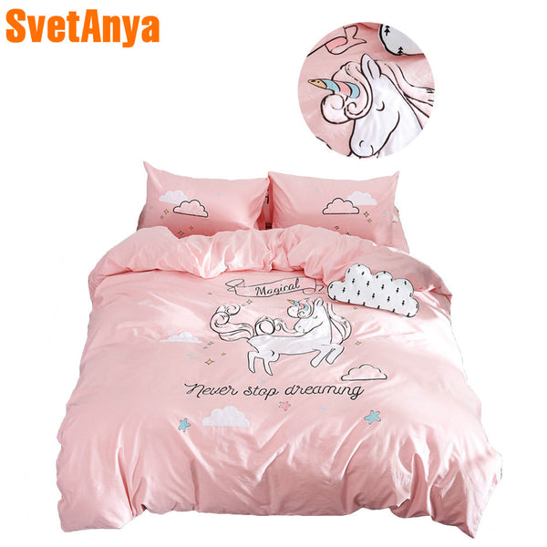 2018 Pink Unicorn Cartoon Bed Cover Applique Bedding Set Cotton Duvet Cover Set Twin Queen King Bedlinens Sheet Pillowcases