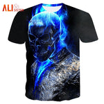 2018 Summer Cool Men Tee Shirt 3D Skull Punisher Print T Shirt Casual European Size Black Gray Slim Male Tshirts Hip Hop Tops