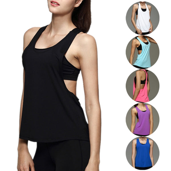 2018 Summer Sexy Fitness Clothes Women Tank Tops Loose Workout Sleeveless Quick Dry Vest Singlet For Women T-shirt