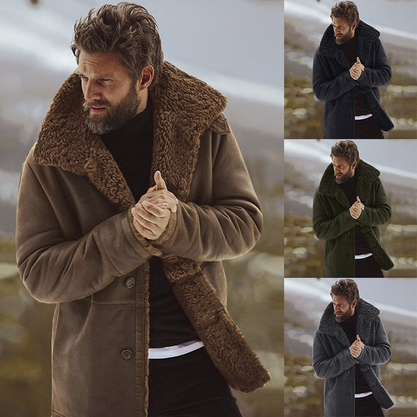 2018 Winter Men Coat Fashion Brand Clothing Fleece Lined Thick Warm Woolen Overcoat Male Wool Blend Men's Coat Plus Size Presale
