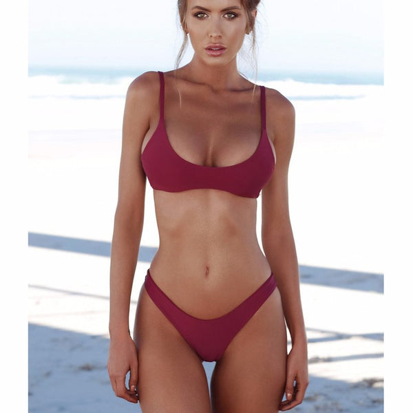 2018 Women Swimsuit Solid Female Sexy Thong Black Wine Red Push Up Brazilian May Swimwear Women Bikini XL