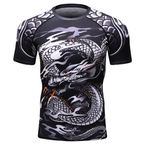 2018 new 3D print t shirt men GYMS compression shirt T-shirt Men's Dragon's Flight Short Sleeve Rash Guard MMA BJJ tops T-shirt