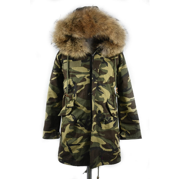 2018 real raccoon fur camouflage parka coat jacket high spring women natural fur coat hooded thick warm fur parkas street style