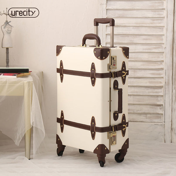 2018 retro travel luggage hardside luggage suitcase on wheels suitcase 24 fashion spinner Unisex 7 colors high quality genuine
