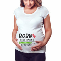 2019 Brand New Women Pregnancy Clothes Baby Now Loading Pls Wait Maternity T Shirt Summer Short Sleeve Pregnant T-shirts