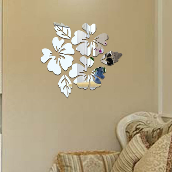2019 Flower Pattern Wall Sticker Home Decor 3D Wall Decal Art DIY Mirror Wall Stickers Living Room Decoration Silver/Gold jan3