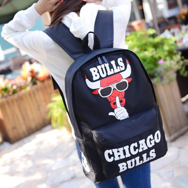 2019 Harajuku Fashion Chicago Bulls Backpack Women Casual Laptop Rucksack Letter Print School bag for Teenagers Backpacks