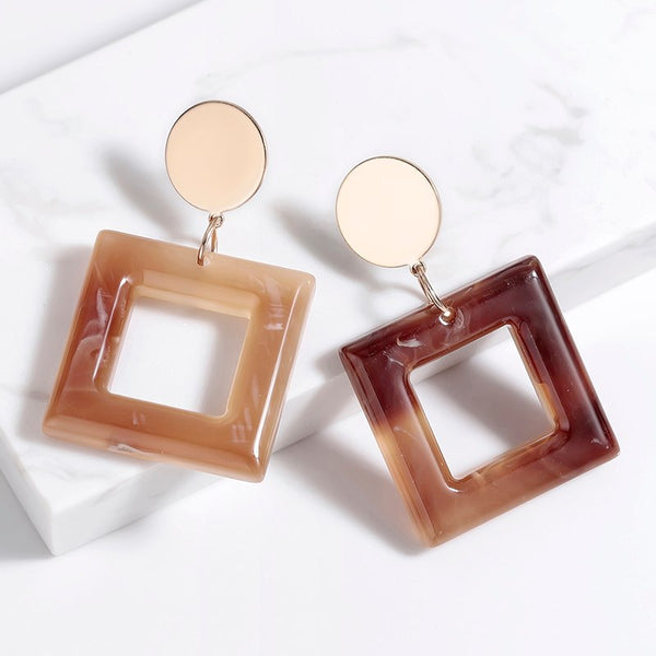2019 Minimalistic and Elegant Square Earrings Brincos Drop Earring Eardrop for Women Trendy Design Jewelry Wholesale oorbellen