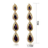 2019 New 70mm Gold color Long Earrings Setting with waterdrop Red Blue Purple Clear colorful Cubic Zirconia Earrings for Women