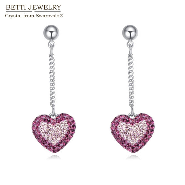 2019 New Charming 3 colors fashion heart Shape drop earrings With Crystals From Swarovski gift for women for mother's day gift