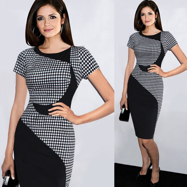 2019 New Patchwork Business Women Dress Plus size Tight Paddy Slim