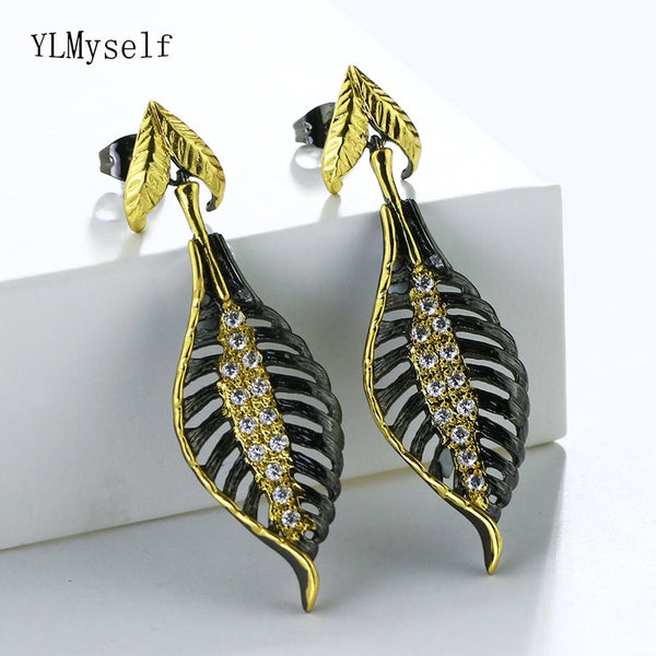 2019 Newest Design Black Leaves Earrings For Woman joias piercing brincos de festa bijoux femme drop Earring Fashion Jewelry