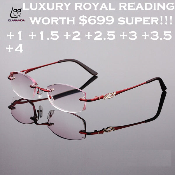 2019 Occhiali Da Lettura Clara Vida New Designer Royal Luxury Rimless Women Reading Glasses Gradient +1 +1.5 +2 +2.5 +3 +3.5 +4