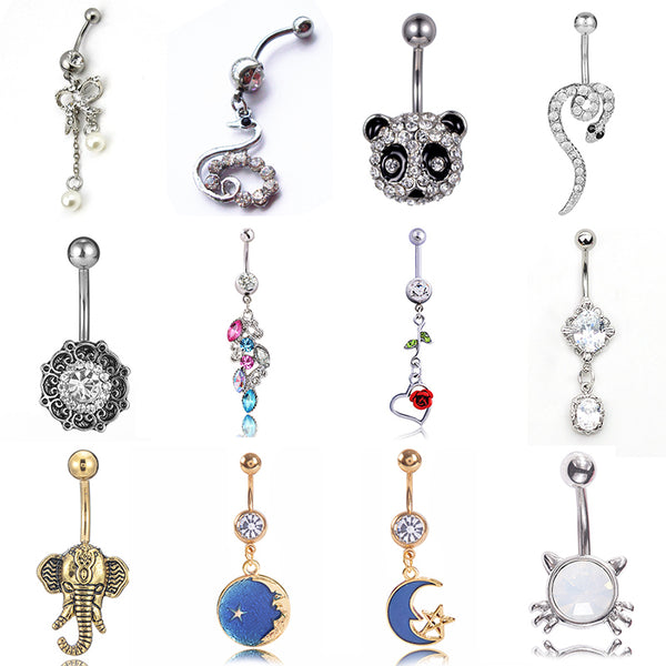 2019 Romance Blue Starry Sky Moon Star Pendant Navel Piercing Ring Cute Panda Navel Belly Button Ring for Women Sexy Jewelry
