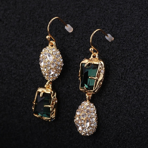 2019 Trendy CZ stones  /Crystal Studded Irregular Green Gem Gold Asymmetrical Copper Alloy long dangle Women Earrings