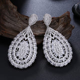 2019 Wonderful beautiful earring jewelry Excellent high quality white cubic zirconia wedding party big water drop earrings