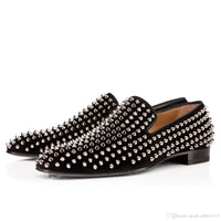 Luxury Bottom Designer Red Bottoms Studded Spikes Brand Mens casual Dress Shoes Leather Men Women Party Lover sports sneaker