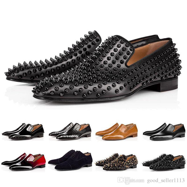 Luxury Bottom Designer Red Bottoms Studded Spikes Brand Mens casual Dress Shoes Leather Men Women Party Lover sports sneaker 1