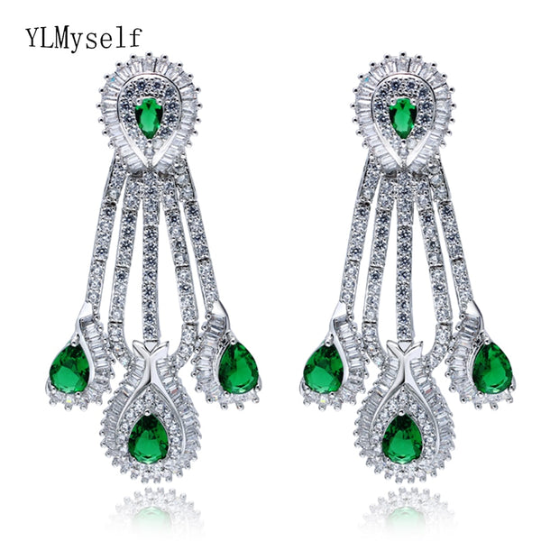 2019 large earring for party jewelry women wedding jewellery luxury big green stones water drop earrings jewelry earrings