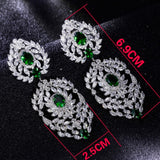 2019 new looking Ethnic Luxury Jewelry big earrings for party High quality Rhinestone Green Champagne colorful Long earring