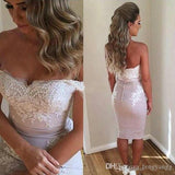 2020 Sexy Short Off The Shoulder Cocktail Dresses Appliques Knee Length Bridesmaid Party Dresses Short Prom Dresses Evening Wear