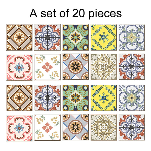 20pcs/set PVC DIY Mosaic Tile Stickers Arabian Retro Bathroom Waterproof Self Adhesive Wallpaper Floor Wall Sticker for Kitchen