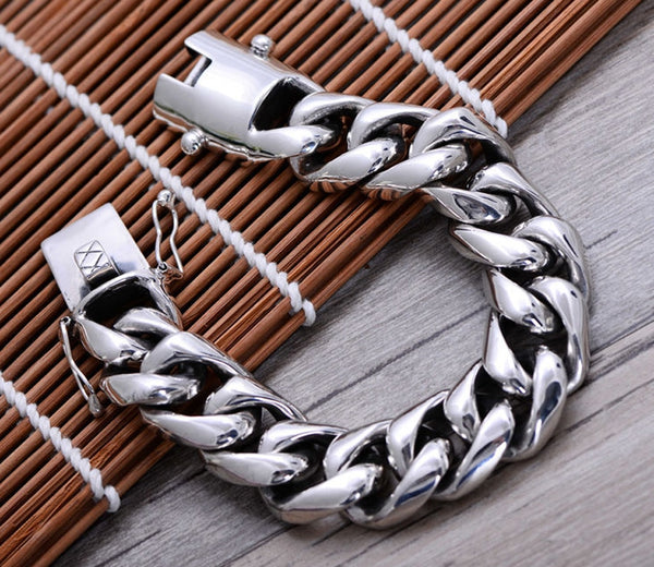 210g 2cm Solid 925 Sterling Silver Men's link Biker Heavy Wide bracelet  bangle A1565