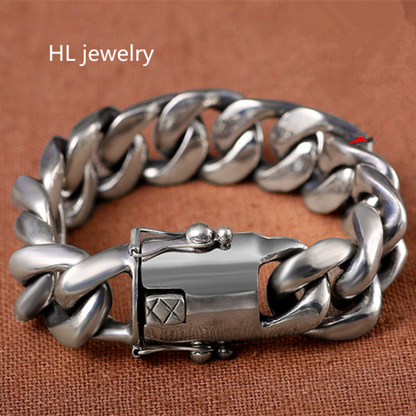 22cm Wholesale 925 Sterling Thai Silver fashion Jewelry Bracelets for Women Men Vintage S925 Solid Thai Silver Chain Bracelets