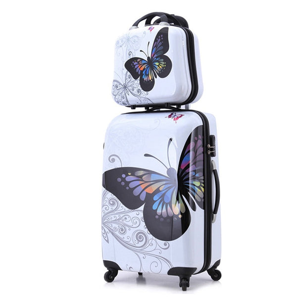 "24""+12"" amazing hot sales Japan butterfly ABS trolley suitcase luggage sets/Pull Rod trunk/traveller case box with spinner wheel"