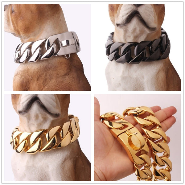 "24/30MM Wide Strong Heavy 316L Stainless Steel Silver Gold Black Cuban Curb Dog Chain Collar Choker Customize Length 18""-26"""