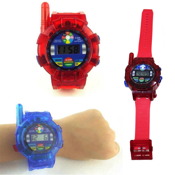 2PCS Walkie Talkie Toys for Children Spy Wrist Watch Walkie Talkie Kids Electronics Gadget Toys 2 Way Radios Red & Blue