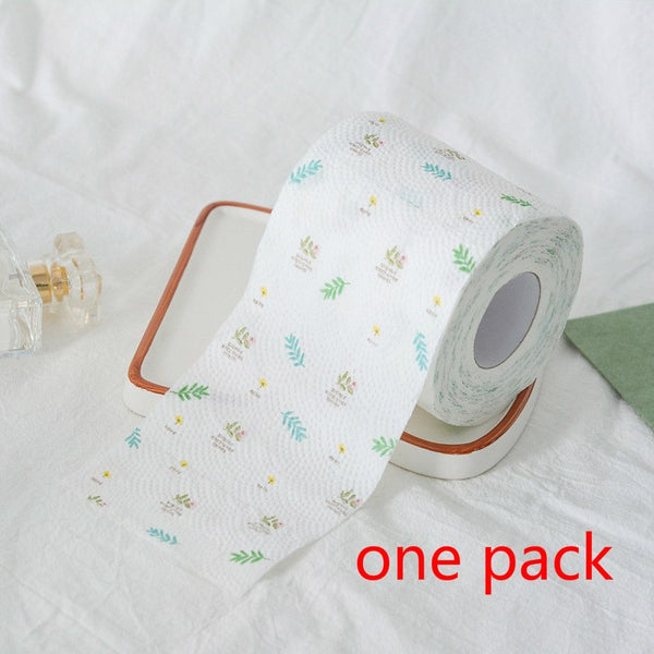 2Packs 15m/pack flowery plant design Printed Paper Toilet Tissues Roll Toilet Paper Novelty Toilet Tissue Wholesale