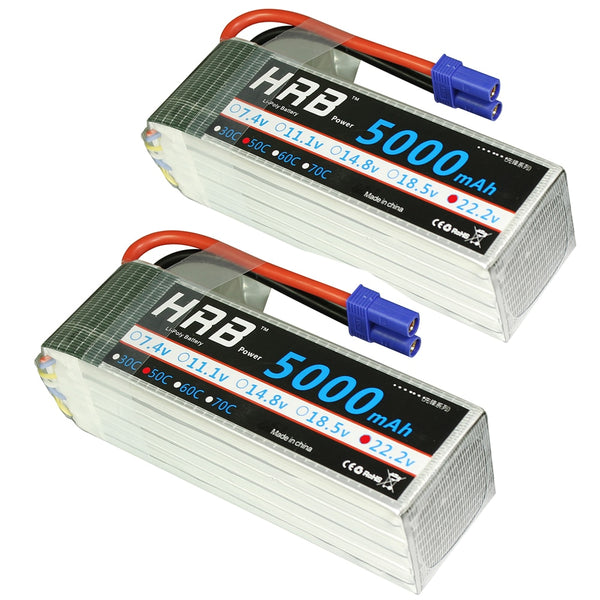 2pcs HRB 6S RC Lipo Battery 22.2V 5000mAh 50C 100C For Trex 700 800E Quadcopter Helicopter Multicopter Drone