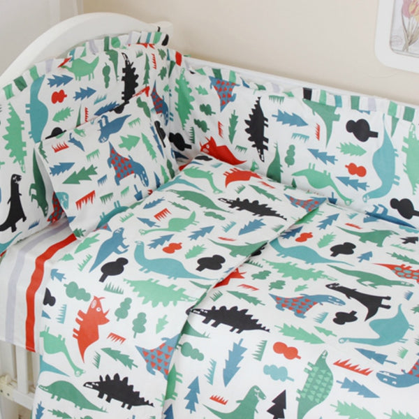 3 pcs set 100% cotton dinosaur baby Bedding set ,bed sheet duvet cover pillowcase  for newborn baby boy and girl cute beding