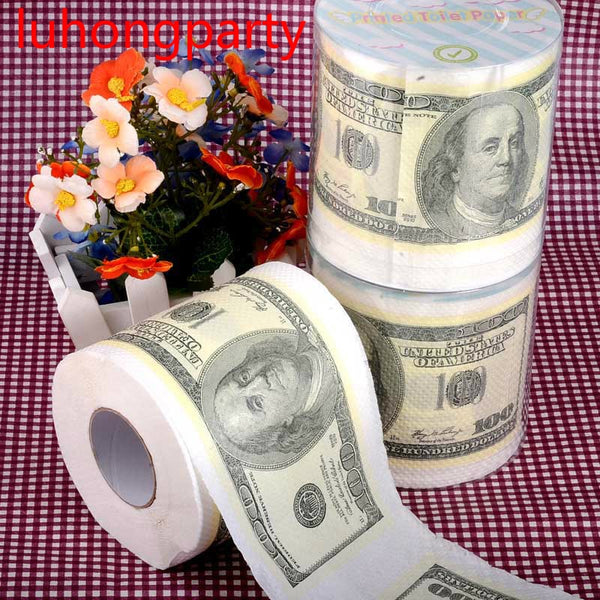 30m/pack 2packs 100 Dollars Printed Paper Toilet Tissues Roll Toilet Paper Novelty Toilet Tissue Wholesale
