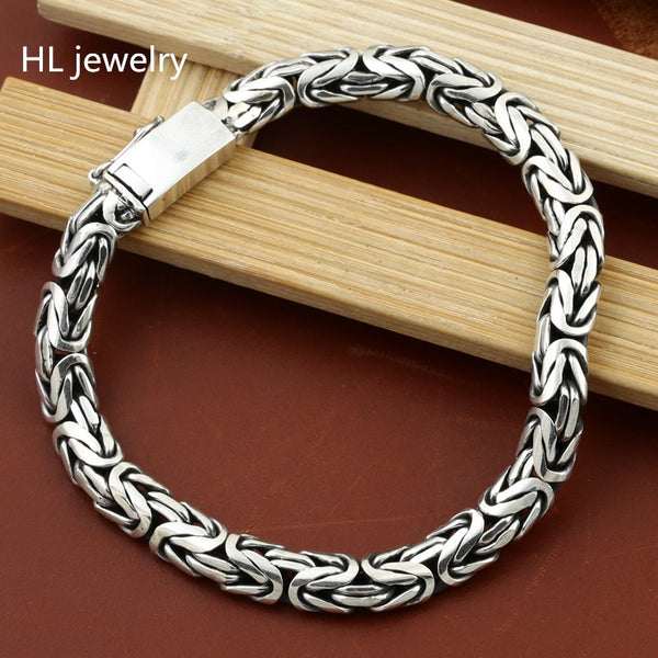 33G Alibaba Express 925 Sterling Silver Jewelry Bracelet for Women Men Vintage S925 Width 7mm Solid Thai Silver Chain Bracelets