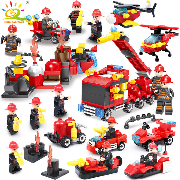 376pcs 8in1 Fire fighting truck Firefighter Helicopter Building Blocks Compatible Legoingly city Educational Bricks children Toy