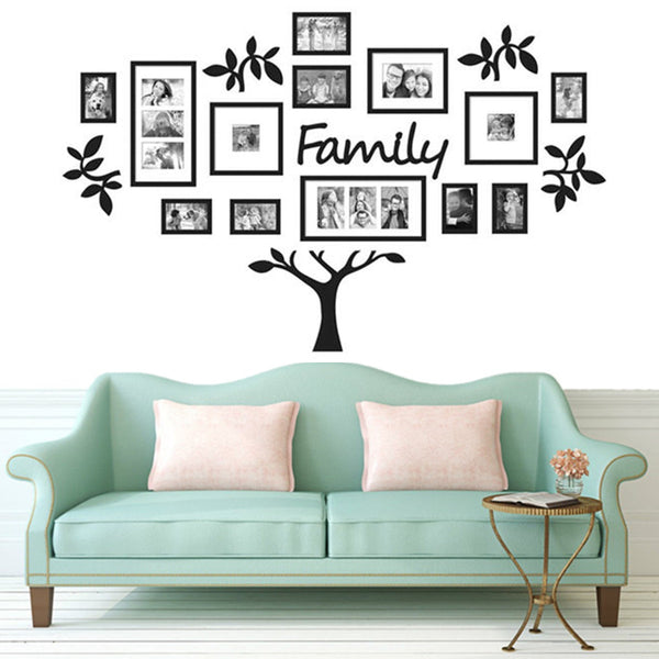 3D Acrylic DIY Wall Stickers Family Tree 17 Pieces Photo Frame Home Decor  Art Picture Frame Wall Decals Poster L/S Size