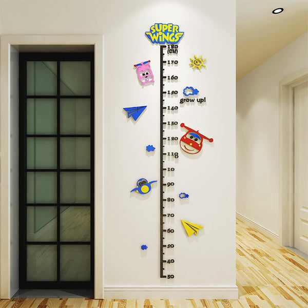 3D Cartoon Super Wings Acrylic Decals Adhesive Wall Stickers Mural Home Decor kids Boy Bedroom Nursery Birthday Gift