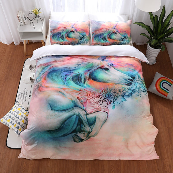 3D Colorful Reactive Printed Unicorn Bedding Set Twin Queen King Size Duvet Cover Pillowcase Bed Linens Bedding Sets