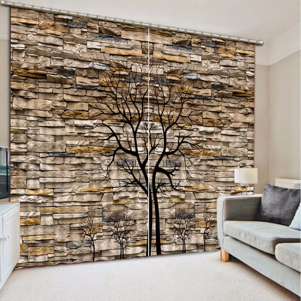 3D Curtain Photo Customize Size Stone Wall Trunk Curtain Bedroom Living Room Office Cortinas Breakdown Bathroom Shower